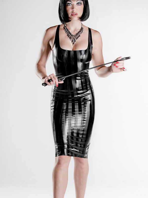 striped latex cocktail dress polymorphe